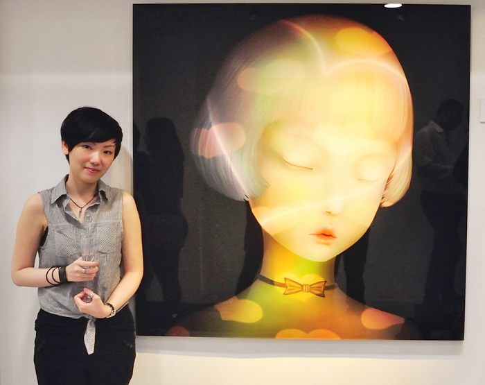 "Sonya Fu next to her work ""I love"" (2014) at AP Contemporary, Hong Kong"