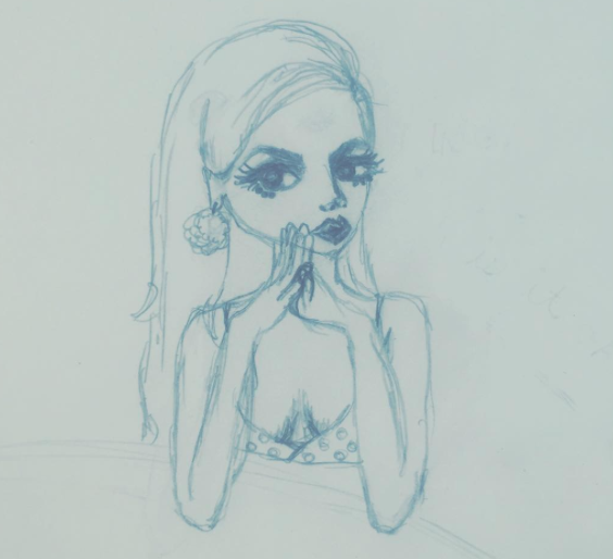 thinking girl sketch